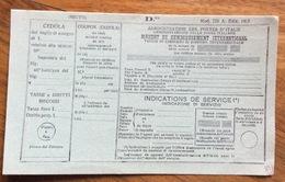 MODULISTICA POSTALE  MOD.223 EDIZ.1925 VAGLIA DI RIMBORSO DI ASSEGNO INTERNAZIONALE NUOVO - 1900-44 Vittorio Emanuele III