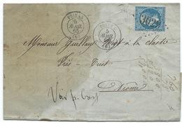 N° 22 BLEU NAPOLEON SUR LETTRE / PRIVAS ARDECHE POUR LA CLASTRE / 1865 - Marcophilie (Lettres)