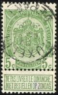 """COB   83 A  (o) Oblitération """"Bruxelles (Départ)"""" T1L - 1893-1907 Armoiries"""