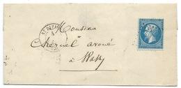 N° 22 BLEU NAPOLEON SUR LETTRE / SAINT DIZIER POUR WASSY - Marcophilie (Lettres)