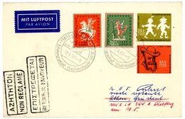 """Nr. 286 + 287 MIF Luftpostbrief Nach Athen """"LOSHEIM (SAAR) Sonderstempel 1958 - BRD"""
