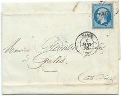 N° 22 BLEU NAPOLEON SUR LETTRE / DIJON POUR GENLIS 1863 / PC DU GC 1307 - Marcophilie (Lettres)