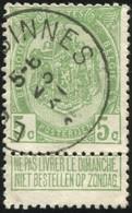 """COB   83 A  (o) Oblitération """"Ecaussinnes"""" T2R  Partiel - 1893-1907 Armoiries"""