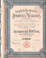 Action De 100 FR  Société De Construction Des APPAREILS MENAGERS,  PARIS - Actions & Titres