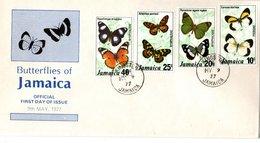 FDC   JAMAICA ,  Butterfly   / JAMAIQUE  Lettre De Première Jour, Papillon  1977 - Schmetterlinge