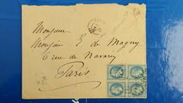 Lettre De Châteauroux Mai 1870 Bloc De 4 Napoleon Lauré N° 29 Pour Paris Voir Photos - Marcophilie (Lettres)