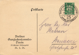 CHARLOTTENBURG / (Berlin)  - 1926 , Privatpostkarte - Berliner Ganzsachen Sammlerverein * 25 Jähriges Stiftungsfest - Deutschland