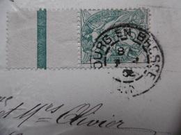 TIMBRE MOUCHON 5 C VERT BORD DE FEUILLE CACHET BOURG EN BRESSE CPA FANTAISIE - Storia Postale