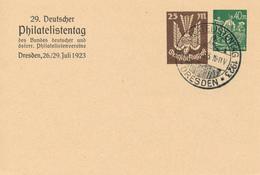 DRESDEN  - 26.-29.7.1923 , Privatpostkarte - 29. Deutscher Philatelistentag - Deutschland