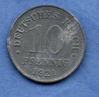 Allemagne - 10 Pfennig 1921  - Km # 26  -- état TB+  -- - [ 3] 1918-1933 : Weimar Republic