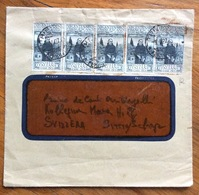 S.FRANCESCO 30 C. DENTELLATO 14  Striscia Di 5 Pezzi Su BUSTA  DA TRIESTE PER LA SVIZZERA IN DATA 5/4/27 - 1900-44 Vittorio Emanuele III