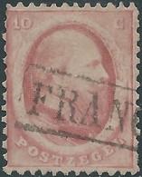 OLANDA-HOLLAND-NEDERLAND 1864 King William III Of The Netherlands,10 C-carmine,used-Value €12,00 - 1852-1890 (Guillaume III)