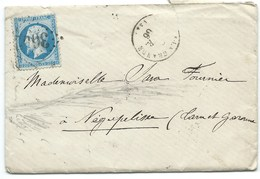 N° 22 BLEU NAPOLEON SUR LETTRE / SAINTE FOY LA GRANDE POUR NEGREPELISSE 1866 - Marcophilie (Lettres)