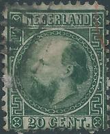 OLANDA-HOLLAND-NEDERLAND 1867 King William III Of The Netherlands,20 C-dark Green-Used,Value €25,00 - 1852-1890 (Guillaume III)