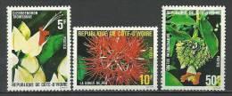 """Cote Ivoire YT 523 à 525 """" Fleurs """" 1980 Neuf** - Côte D'Ivoire (1960-...)"""
