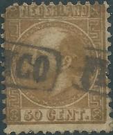 OLANDA-HOLLAND-NEDERLAND 1867 King William III Of The Netherlands,50 C-gold-used,StampWorld:Value€175,00 - 1852-1890 (Guillaume III)