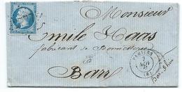 N° 22 BLEU NAPOLEON SUR LETTRE / PAMIERS POUR BARR 1865 - Marcophilie (Lettres)