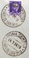 ROMA CENTRO CONTI DI CREDITO 24/7/34 - XII Annullo Su BUSTA PER FORLI' CON IMPERIALE 50 C. - 1900-44 Vittorio Emanuele III