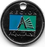 Jeton De Caddie Argenté  Ville, Région, REGION  AQUITAINE  Verso  Aquitaine.fr,  Recto  Verso - Jetons De Caddies