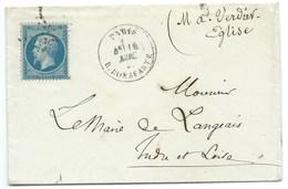 N° 22 BLEU NAPOLEON SUR LETTRE / PARIS RUE BONAPARTE POUR LANGEAIS - Marcophilie (Lettres)