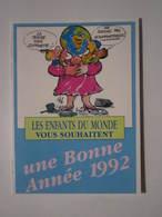 1992 PETIT CALENDRIER EN 2 VOLETS CONVERGENCE SECOURS POPULAIRE FRANÇAIS LES ENFANTS DU MONDE - Calendriers