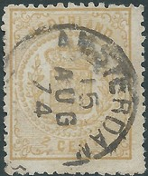 OLANDA-HOLLAND-NEDERLAND 1869-National Arms,2 C,yellow -cancellation In Amsterdam -Vlue €15,00 - 1852-1890 (Guillaume III)
