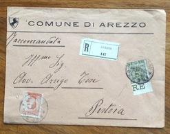 COMUNE DI AREZZO BUSTA INTESTATA RACCOMANDATA PER PISTOIA CON FLOREALE+MICHETTI  45+20 C. Il 322/1/16 - 1900-44 Vittorio Emanuele III