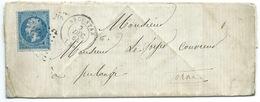 N° 22 BLEU NAPOLEON SUR LETTRE / ARGENTAN POUR PULANGE ORNE 1864 / PLIAGE ORIGINAL - Marcophilie (Lettres)