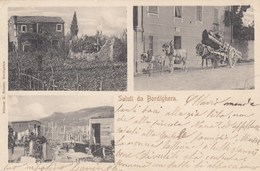 BORDIGHERA-IMPERIA-UN SALUTO TIPO  GRUSS AUS-3 VEDUTE-CARTOLINA VIAGGIATA IL 20-1-1906 - Imperia