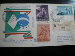 Raccomandata Mista Vaticano-Italia  Volo 3.9.58 Per Brasile - 6. 1946-.. Repubblica