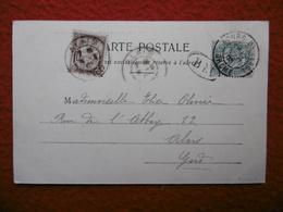 GRIFFE BM TIMBRE MOUCHON TAXE CACHET BOURG DE PEAGE CPA - 1877-1920: Période Semi Moderne