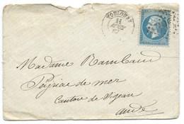 N° 22 BLEU NAPOLEON SUR LETTRE / TOULOUSE POUR PEYRIAC DE MER 1867 - Marcophilie (Lettres)