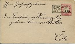 OBERNEUKIRCHEN - 1875 , Ganzsachenumschlag Nach Celle - Deutschland