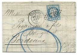 N° 37 BLEU CERES SUR LETTRE / ORLEANS POUR BORDEAUX 1871 - Marcophilie (Lettres)