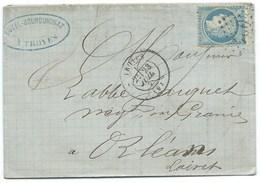 N° 37 BLEU CERES SUR LETTRE / TROYES POUR ORLEANS 1871 - Marcophilie (Lettres)