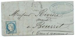 N° 60 BLEU CERES SUR LETTRE / CASTELSARRAZIN POUR BOURRET 1871 - Marcophilie (Lettres)