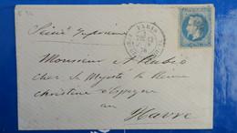 Lettre Etoile De Paris 34 Avenue Josephine Pour Le Havre Juin  1870 - 1849-1876: Klassik