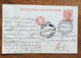CASTROCARO (27-126) Annullo Frazionato SU CARTOLINA POSTALE PER FORLI' IN DATA 5/4/24 - 1900-44 Vittorio Emanuele III