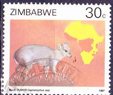 Simbabwe - Blauducker (Philantomba Monticola) (Mi.Nr.: 371) 1987 - Gest. Used Obl. - Zimbabwe (1980-...)