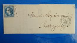 Variété Napoleon N° 29 (points Blancs Devant Effigie) Sur Lettre De Aubeterre Sur Dronne Charente GC 203 - 1849-1876: Klassik
