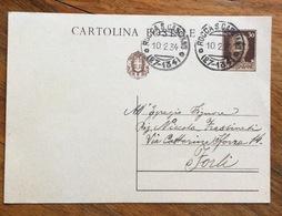 ROCCA S.CASCIANO (27-134) Annullo Frazionato Su INTERO POSTALE 30 C. PER FORLI' IN DATA 10/2/34 - 1900-44 Vittorio Emanuele III