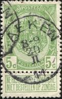 """COB   83 A  (o) Oblitération """"Laeken"""" T2R - 1893-1907 Armoiries"""
