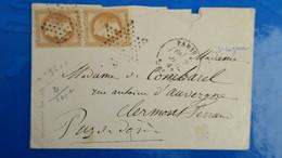 Paire Napoleon N° 28 Sur Lettre De Paris Pour Clermont Ferrand  1868 - Postmark Collection (Covers)