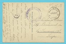 "Kaart Met Stempel MALMEDY Op 2/6/21, Stempel ""9e Regiment De Ligne,1ere Companie"" - Guerre 14-18"