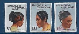 """Cote Ivoire YT 605 à 607 """" Coiffures """" 1982 Neuf** - Côte D'Ivoire (1960-...)"""