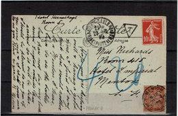 COMP2 - MONACO CPA AFFR.T SEMEUSE 10c NON ACCEPTE TAXE A L'ARRIVEE A MENTON 21/2/1920 - Monaco