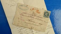 Lettre De Rouen Pour Le Havre 1870 Au Dos Mention Décédé Puis Inconnu Et Retour Envoyeur - Marcophilie (Lettres)