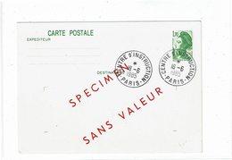 """COMP2 - FRANCE EP CP LIBERTE 1f70 """"SPECIMEN SANS VALEUR"""" CENTRE D'INSTRUCTION PARIS 18/6/1985 RARE - Specimen"""