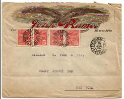 BRAZIL -194? EAGLE ADVERTISING JORGE RAMOS COVER TO USA / EXP. MARITIMA CANCEL - Lettres & Documents