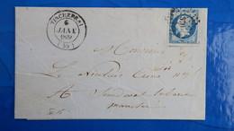 Lettre De Tinchebrai  Orne Napoleon N° 14 PC 3370 Janvier  1855 Pour La Manche - 1849-1876: Classic Period